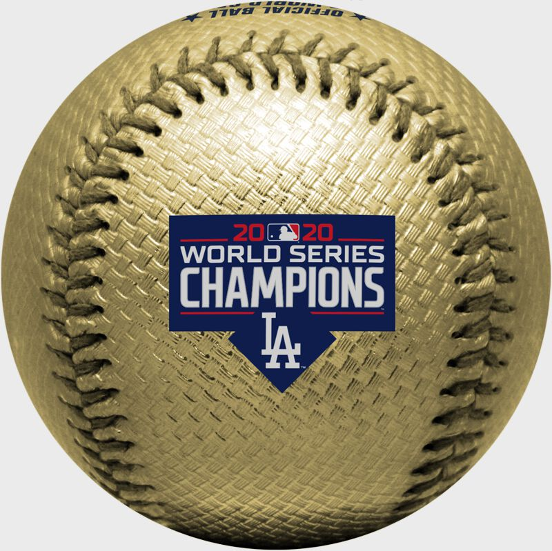 The Los Angeles Dodgers World Series champions logo stamped on a gold replica baseball - SKU: 35010032286