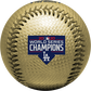 The Los Angeles Dodgers World Series champions logo stamped on a gold replica baseball - SKU: 35010032286 image number null