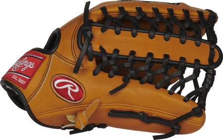 Thumb of a rich tan PRO442KRTP 12.75-inch Pro Preferred outfield glove with a Trap-Eze web