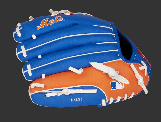 Back of a blue/orange New York Mets 10-inch youth glove with the MLB logo on the pinky - SKU: 22000017111