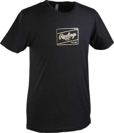 A black adult Rawlings Gold Patch short sleeve shirt with a gold Rawlings patch outline