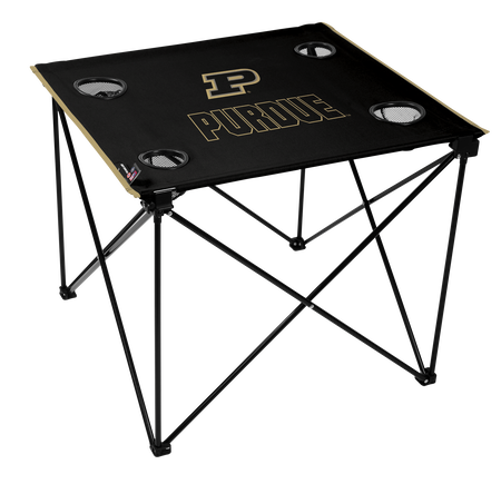 A black NCAA Purdue Boilermakers deluxe tailgate table with four cup holders and team logo printed in the middle