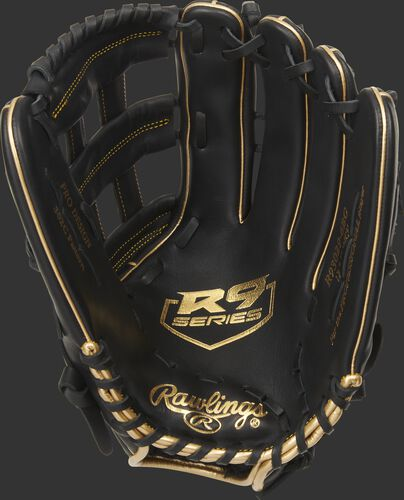 Black palm of a Rawlings R9 series outfield glove with a gold logo stamped on the palm and black laces - SKU: R93029-6BG