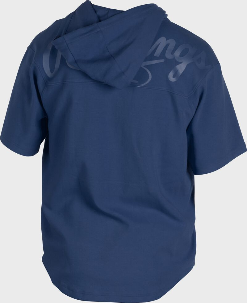 Back of a navy Rawlings Gold Collection short sleeve hoodie with a navy script Rawlings logo across the back - SKU: GJJ-N