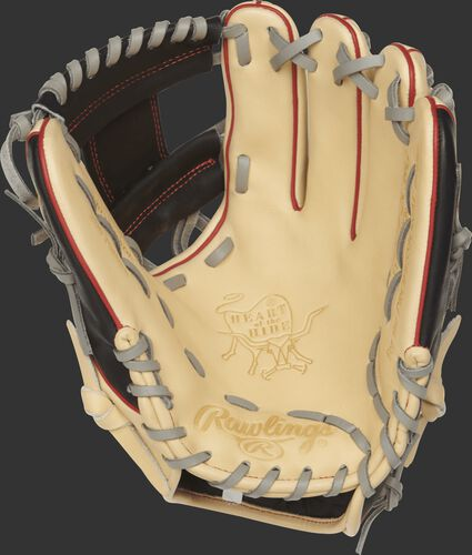 PRO204-2CBG Heart of the Hide 11.5-inch I web glove with a camel palm and grey laces