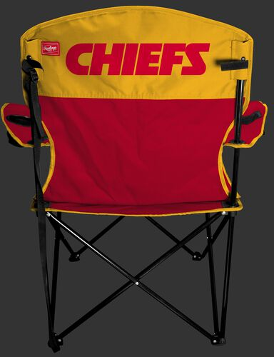 Back of Rawlings Red and Yellow NFL Kansas City Chiefs Lineman Chair With Team Name SKU #31021071111