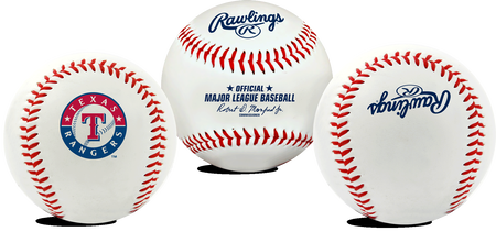 3 views of a MLB Texas Rangers baseball