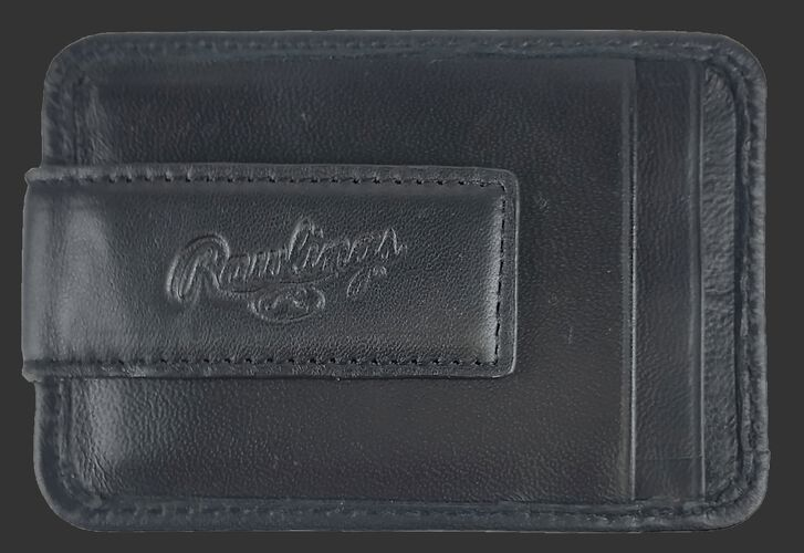 An embossed Rawlings logo on the magnetic clip of a black RL164-001 money clip with two additional credit card slots