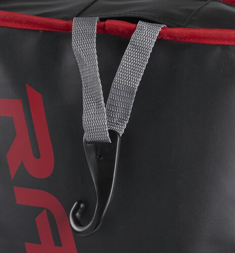 Exterior hanging hook on a scarlet R601 Rawlings hybrid bag