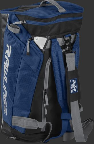 Angled view of a navy R601 Rawlings hybrid bag standing up like a backpack