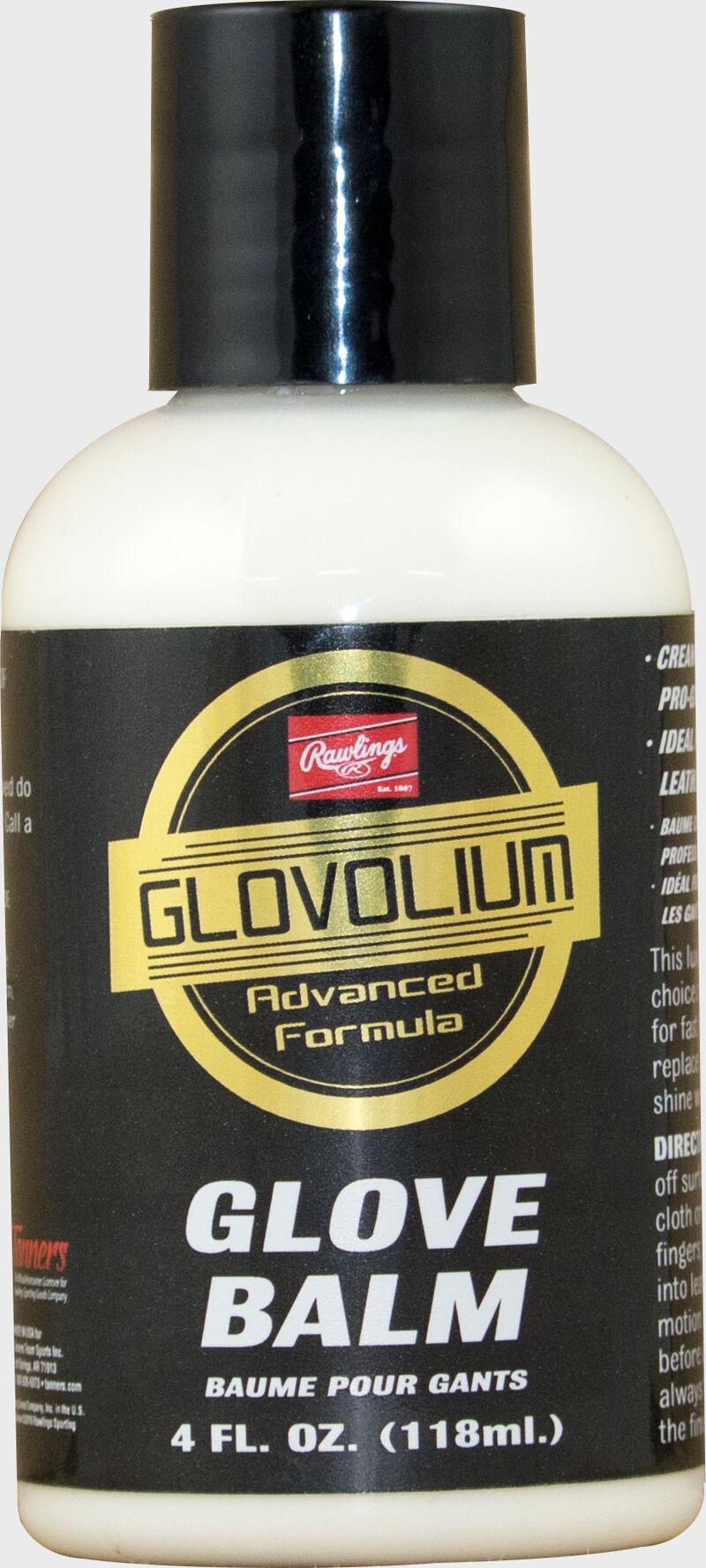 A bottle of Rawlings Glovolium Glove Balm for glove care and maintenance SKU #GLVBALM