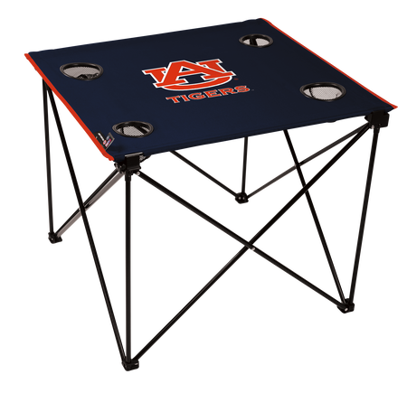 A navy NCAA Auburn Tigers deluxe tailgate table with four cup holders and team logo printed in the middle