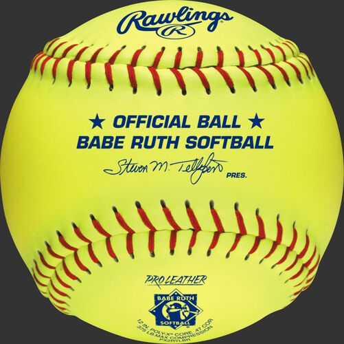 A yellow PX2RYLBR Babe Ruth official 12-inch softball with red stitching