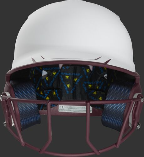 Front of a white/maroon Mach fastpitch softball helmet with a maroon mask - SKU: MSB13S-W/MA