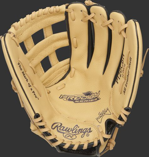 P120CBH Rawlings Prodigy youth glove with a camel palm, camel laces and Sure Catch design