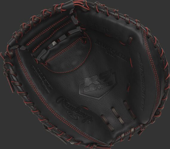 R9YPTCM32B 32-inch Rawlings youth catcher's mitt with a black palm and black/scarlet laces