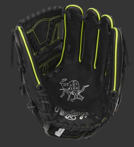 Black palm of a Heart of the Hide infield/pitcher's glove with a black web and black laces - SKU: PRO205W-30BOY