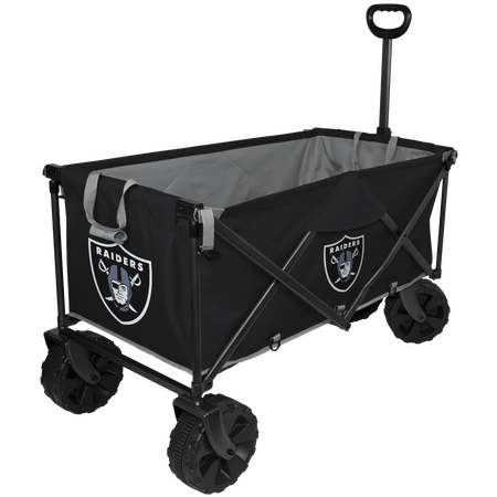 NFL Oakland Raiders wagon with pull handle, sturdy wheels and team logos printed on the outside