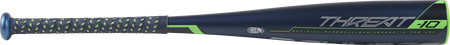 Barrel view of a UT9T10 2019 Threat USSSA baseball bat with a navy barrel and navy/green bat grip
