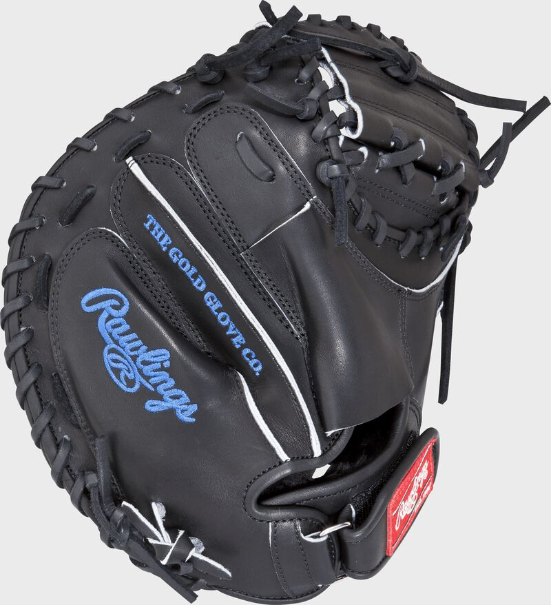 PROSP13B 32.5-inch Salvador Perez game day pattern catcher's mitt with a black back and wrist strap