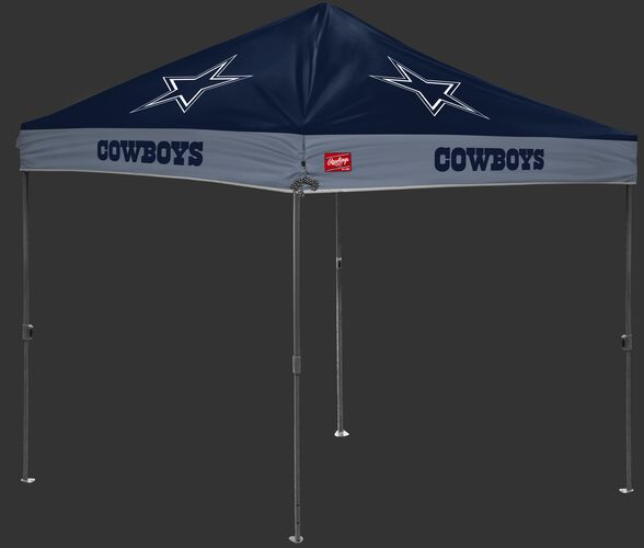 A navy/silver NFL Dallas Cowboys 10x10 canopy with team logos on each side - SKU: 02231065111