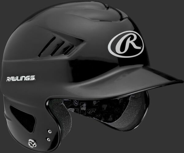 Right anlge of a black RCFTB Rawlings t-ball helmet with Coolflo vents
