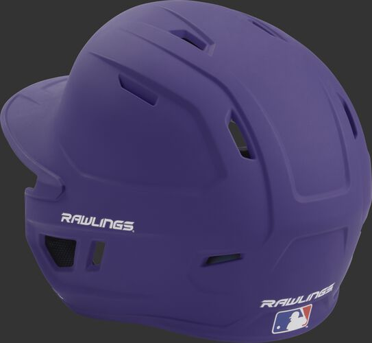 Back left view of a matte purple MACH series batting helmet with air vents