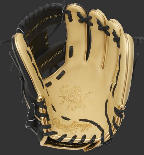 Camel palm of a 2021 HOH R2G ContoUR fit glove with a black web and black laces - SKU: PROR204U-2CB