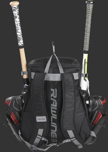 Back of a R1000 Rawlings Gold Glove Series equipment backpack with black shoulder straps