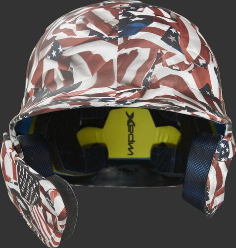 Front of a MACHEXTL-USA Rawlings Mach EXT batting helmet with an American flag hyro dipped design