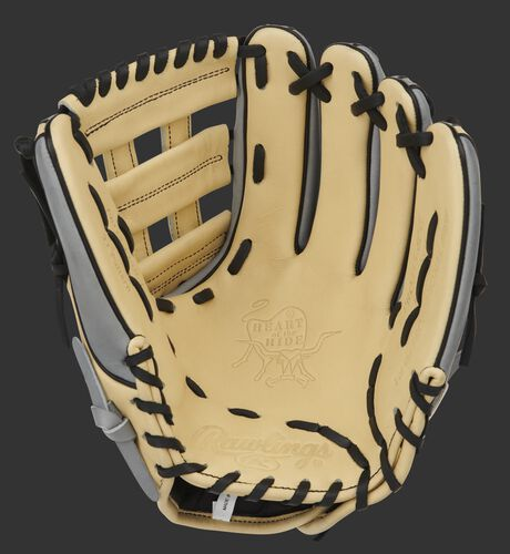 Camel palm of a Heart of the Hide H-Web glove with a camel web and black laces - SKU: PRO315-6CG