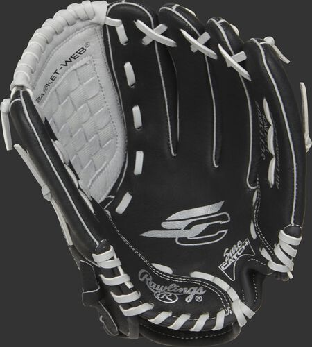SC115BGB Rawlings Sure Catch youth glove with a black palm and grey laces