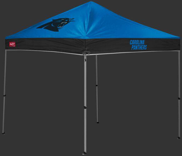 A blue/black Carolina Panthers 9x9 shelter with a team logo on the left side - SKU: 03231090112
