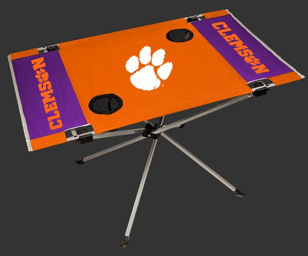 An orange/purple NCAA Clemson Tigers endzone table with two cup holders and team logo printed in the middle SKU #04053010111