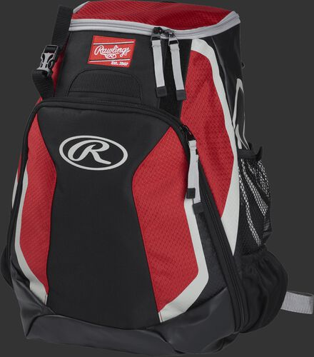 Left side of a black/scarlet R500 Players team backpack with white trim