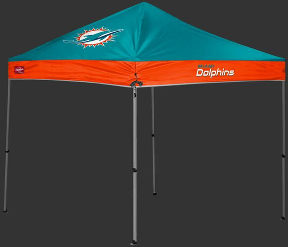 A teal/orange Miami Dolphins 9x9 shelter with a team logo on the left side - SKU: 03231074113