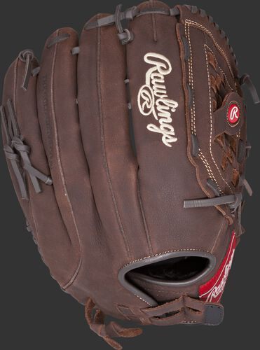 P140BPS 14-inch Player Preferred outfield glove with a brown back and brown Pull-Strap back