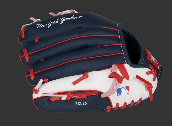Back of a navy, white & red New York Yankees 10-inch youth glove with the MLB logo on the pinky - SKU: 22000030111