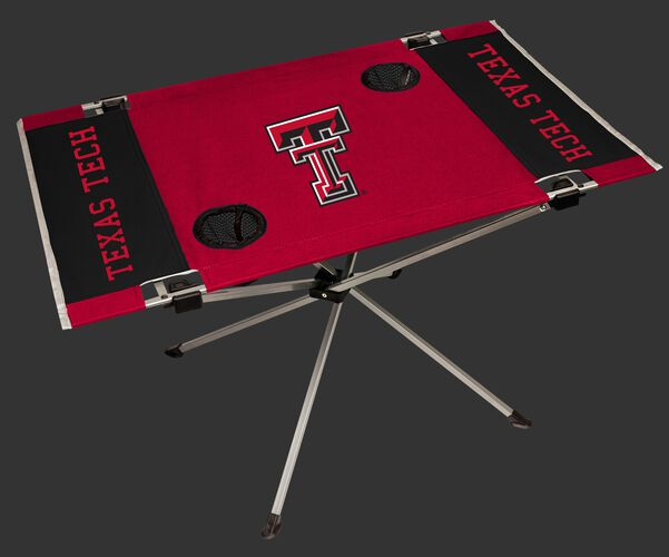 A red/black NCAA Texas Tech Red Raiders endzone table with two cup holders and team logo printed in the middle SKU #04053063111