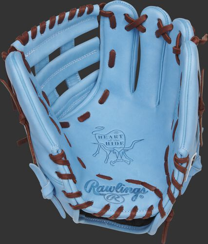 Columbia blue palm of a Rawlings Philadelphia Phillies HOH glove with maroon laces - SKU: RSGPRO204-6PHI