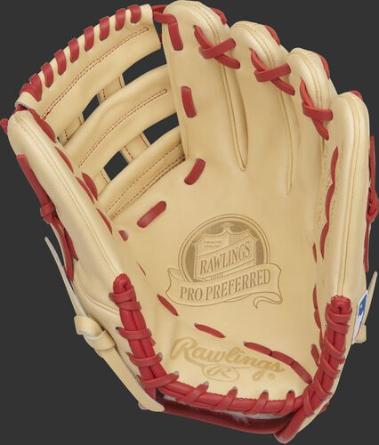 Camel palm of a Rawlings Xander Bogaerts infield glove with a camel web and scarlet laces - SKU: RSGPROSDJ2-6XB
