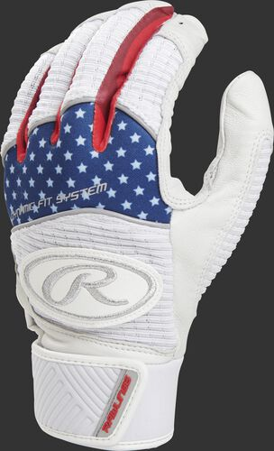 A white WH950BG-USA adult Workhorse batting glove with a USA theme on the back of the fingers