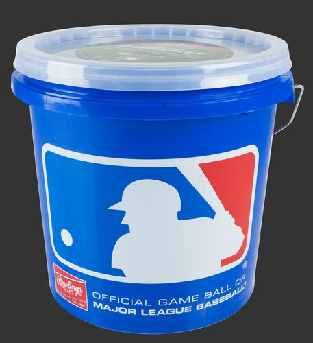 MLB logo on a blue R12UBUCK24 baseball bucket with clear lid