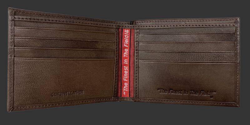 Inside of a brown Rawlings debossed stich bi-fold wallet with multiple credit card slots - SKU: RPW007-200