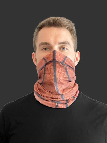 A guy wearing a basketball design adult neck gaiter over his mouth and nose - SKU: RC40006-202