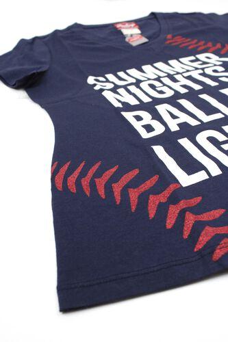Left Side of Rawlings Women's Summer Nights & Ballpark Lights T-Shirt - SKU #RA30001-400