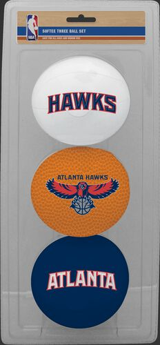 Rawlings White, Brown, and Navy NBA Atlanta Hawks Three-Point Softee Basketball Set With Team Logo SKU #03524203114