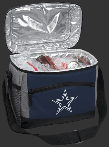 An open Dallas Cowboys 12 can cooler filled with ice and drinks - SKU: 10111065111