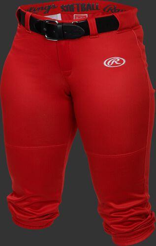 Front of Rawlings Scarlet Girls' Low-Rise Softball Pant - SKU #YLNCHG