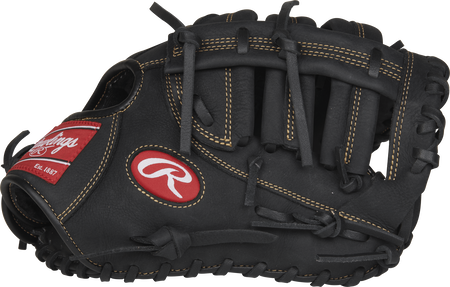 Thumb view of a R115FBM 11.5-inch youth first base mitt with a black Single Post, Double Bar web
